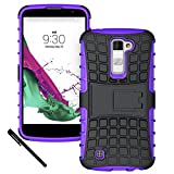 LG K10 Case, LG Premier Case - OEAGO [Drop Protection] Protective Case [Shock Proof] Tough Rugged Dual Layer Plastic Impact Defender Case Cover with Kickstand for LG K10 / LG Premier - Purple