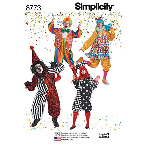 Simplicity 8773 Adult Clown Costume Sewing Pattern, Sizes