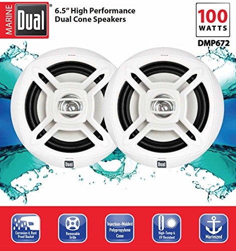 Dual Electronics DMP672 Two 6.5 inch Water Resistant Dual Cone High Performance Marine Speakers with 100 Watts of Peak Power by Dual Electronics (Image #2)