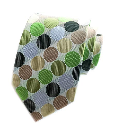 (Mens Classic Polka Dot Ties Jacquard Woven for Business Wedding Party by Elfeves (One Size, Green Big Dot))