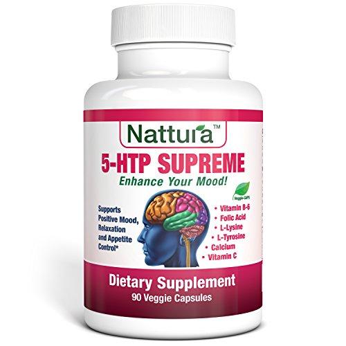 SUPRÊME de 5-HTP - d'humeur Positive, la Relaxation et l'appétit de contrôle (avec 5-HTP, L-Tyrosine, L-Lysine, vitamine B6, Folate (acide folique), vitamine C (acide ascorbique), Calcium) 90 Capsules