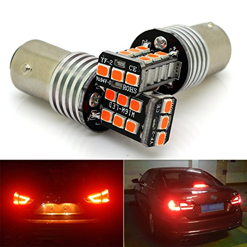 1157 2057 7528 BAY15D LED Brake Lights Bulb Red 15-2835 SMD Replacement Back Up Reverse Bulbs Super Bright 6000K Pack of 2