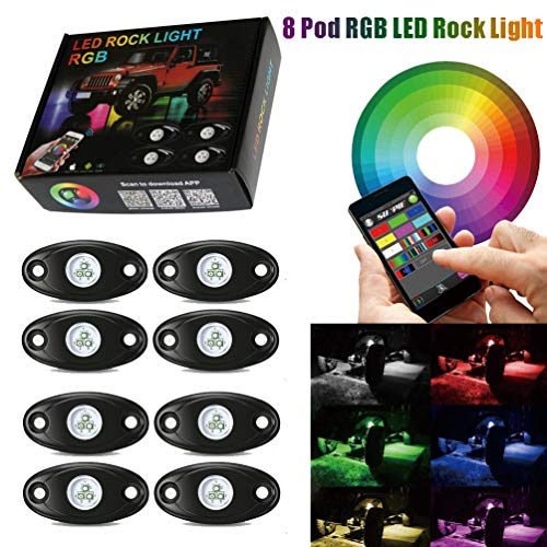 (8 Pod Rgb Led Rock Lights Kits with Bluetooth Control Waterproof Neon Lights for Cars Jeep Off Road Truck SUV ATV (8 Pods))