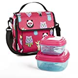 Fit & Fresh Marlowe Lunch Kit with BPA-Free Container Set for Kids, Pink Hipster Animals