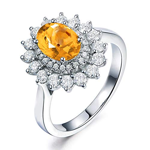 Daesar Sterling Silver Rings Women Wedding Band Cubic Zirconia Rings Oval Cut 8x6MM Citrine Rings Silver Ring Size 7