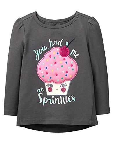 Gymboree Toddler Girls' Long Sleeve Winter Graphic Tee, Magenta Ray, 12-18 Mo