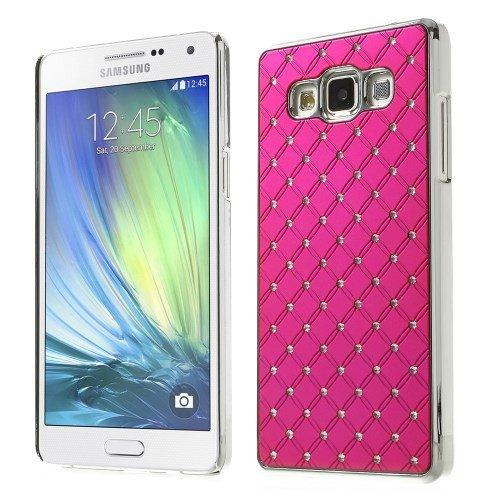 Manguito de sujeción de lujo protectora caso de la cubierta de Samsung Galaxy A5 / SM-A500F caja del teléfono móvil de aluminio cromado mirada de lujo del estuche rígido de color rosa oscuro Rhineston