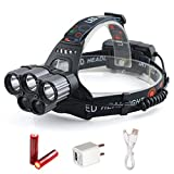 LED Headlamp, 12000LM Headlight, Zoomable Waterproof Flashlight with 18650 Battery Powered or USB Rechargeable, Best for Working, Camping Hiking Runing(Black)