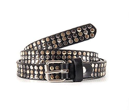 Cintura donna borchiata nera in vera pelle altezza 2 cm - Passionebags - made in Italy