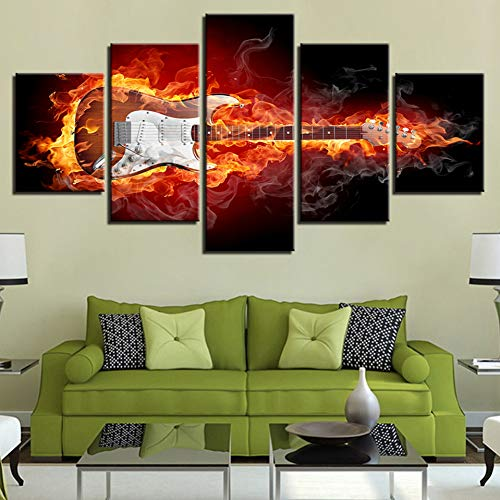 OUPDJ 5 Consecutive Paintings Modern Canvas Painting HD Prints Home Decor 5 Pieces Wall Art Musical Instruments Modular…