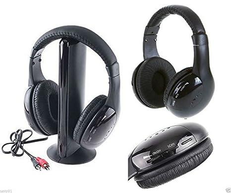 takestop® CUFFIA 5 IN 1 WIRELESS SENZA FILO RADIO FM MP3 PC TV AUDIO  AURICOLARE f7ad0b2d3951