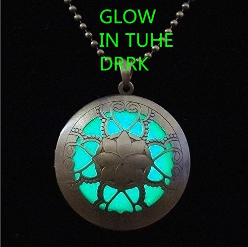 Glowing Necklace Glow in the Dark Aqua Necklace - Glowing Circle - Victorian Filigree Round Charm - Faux Glowing Opal Necklace Galaxy Charm ()