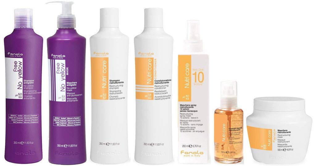 Fanola Free No Yellow Vegan Shampoo Hair Care Package