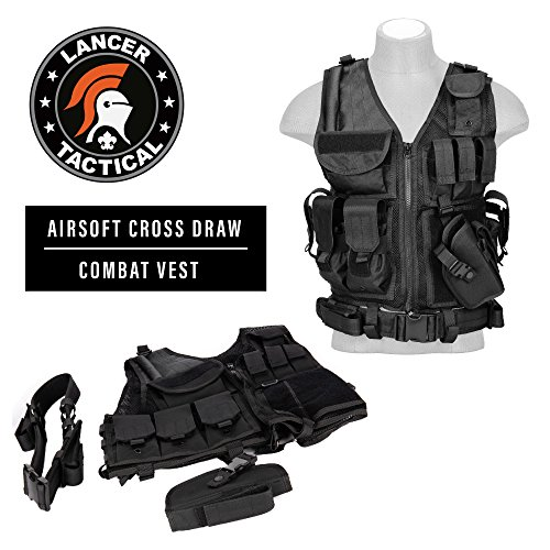 (Lancer Tactical 600D Nylon Urban Tactical Cross Draw Vest with Embedded Pistol Holster Three Magazine Pouches Flashlight Pouch Pistol Belt Admin Pockets and Breathable Nylon Mesh Interior - Black)