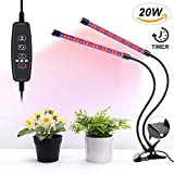 UNIWA Grow Light 20W Dual Head Plant Grow Lamp with 40 LED Red/Blue Spectrum 360° Gooseneck 5 Dimmable Levels Desktop Grow Light for Indoor Plants Hydroponics Greenhouse Gardening Review