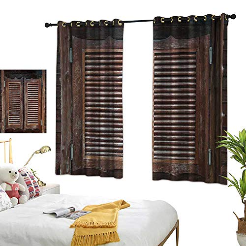 Cowboy Western Door Curtain - Bedroom Curtains W55 x L45 Western,Antique Style Traditional Rustic Wild West Swinging Wooden Cowboy Bar Saloon Door,Dark Brown Living Dining Room Curtain 2 Panels Set