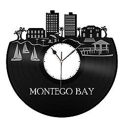 VinylShopUS - Montego Bay Jamaica Vinyl Wall Clock Skyline Retro Record Capital of Parish | Unique Gift for Men Women Ideas | Home Decorative