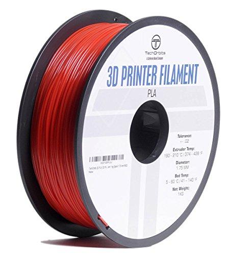 TechOrbits 3D Printer PLA Filament Dimensional Accuracy +/- 0.02 mm 1 kg Spool 1.75 mm RED