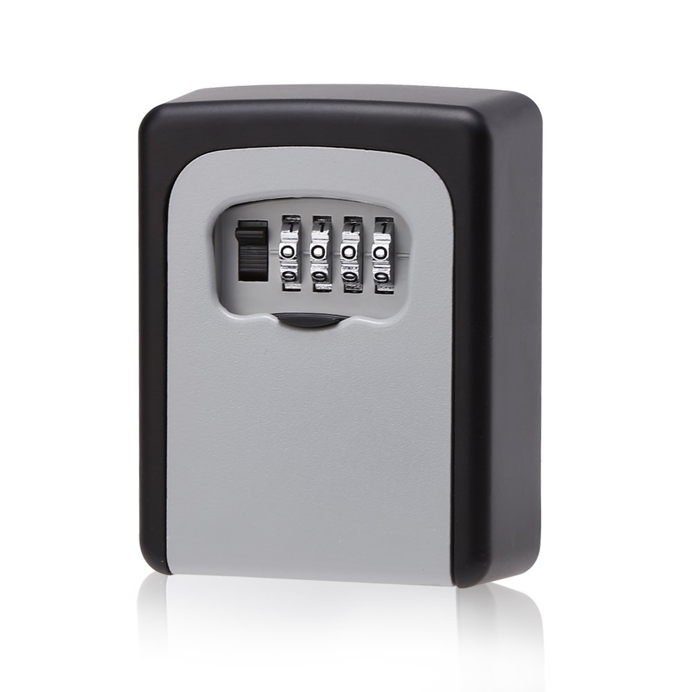 Key Storage Lock Box, Wall Mounted Key Door Lock Box with 4-Digit Combination Code, Silver