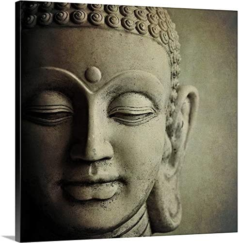 Stone Buddha Head. Canvas Wall Art Print