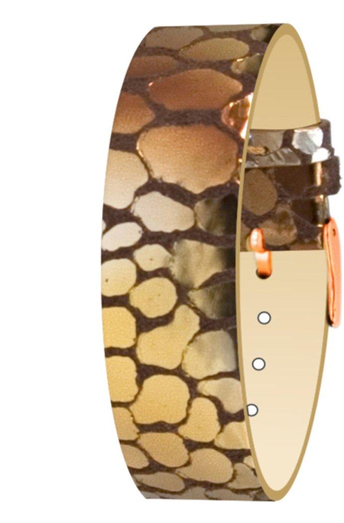 Moog Paris Copper Pecari Leather Bracelet for Women, Scale Pattern, Pin Clasp, 1