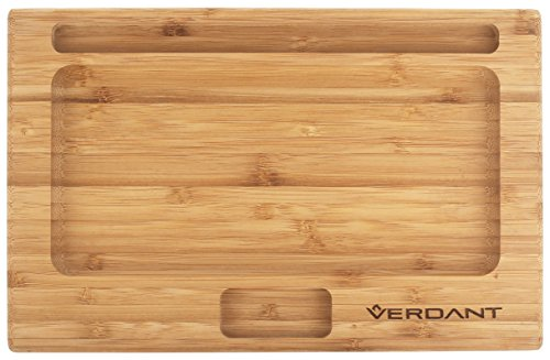 - Verdant Bamboo Rolling Tray Large Full Size with Cutouts 11 in x 7 in