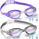Swim Goggles, 2 Pack Swimming Goggles for Adult Men Women Youth Kids Child, No Leaking Anti Fog UV 400 Protection Waterproof 180 Degree Clear Vision Triathlon Pool Goggles