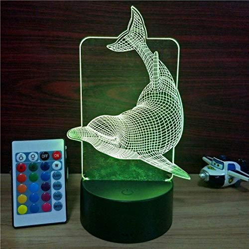 (Xmeilo 16 LED Color 3D Illusion Platform Night Lighting Touch Switch Table Desk Decor LED Lamp with Remote Control (Dolphin))