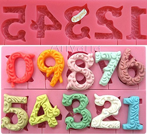Anyana Alphabet Number 0-9 3d Silicone pop Mold with Lollipop Hole Fondant Cake Decorating tools wedding cupcake topper Candy chocolate sugarcraft birthday party cupcake decoration Non stick ()