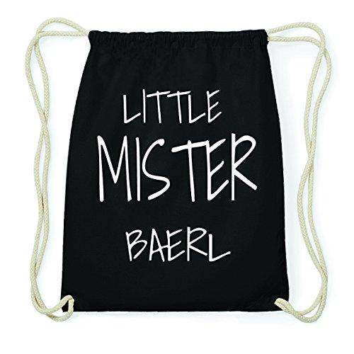 JOllify BAERL Hipster Turnbeutel Tasche Rucksack aus Baumwolle - Farbe: schwarz Design: Little Mister RPGMQ3rU