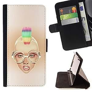 Momo Phone Case / Flip Funda de Cuero Case Cover - Rainbow Mohawk Sexy Girl - Samsung Galaxy Core Prime