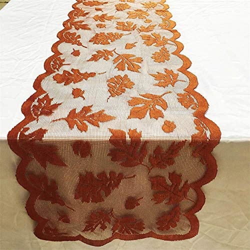 "13""x72"" /33x183cm Maple Leaf Lace Table Runner for Fall Dinner Parties Restaurant Decor"