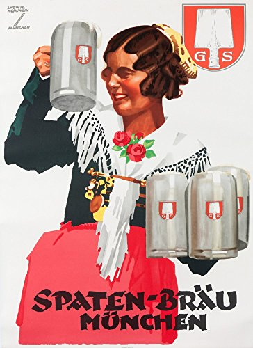Spaten - Brau - Munchen (artist: Hohlwein) c. 1933 Vintage Advertisement (9x12 Fine Art Print, Home Wall Decor Artwork Poster)