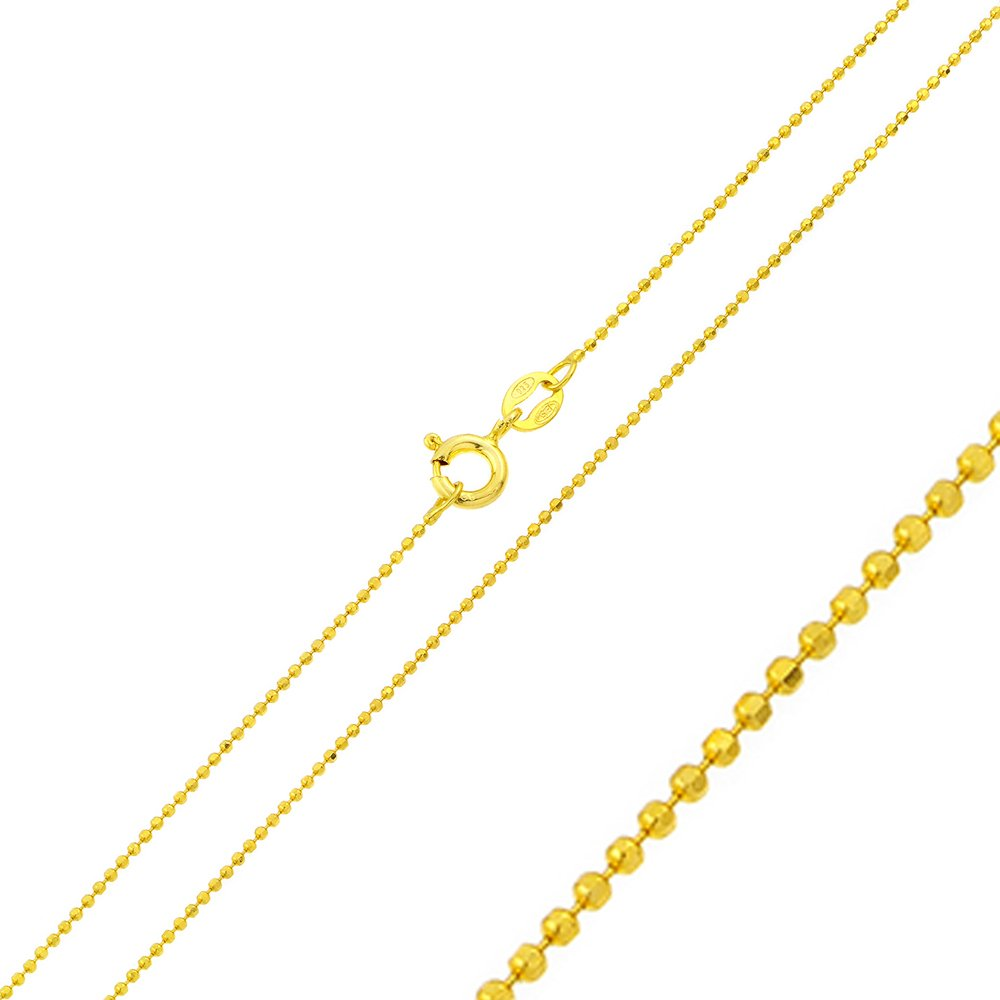 Princess Kylie Yellow Gold-Tone Plated Sterling Silver DC Bead Chain 1.2mm