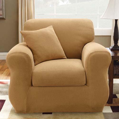Antique Stretch Pique 3 Piece Chair Cover