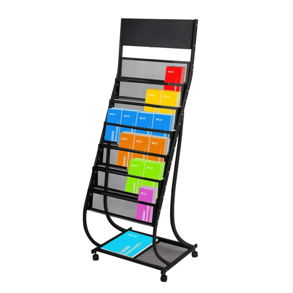 Magazine Rack 6-Story Office Brochure Rack Floor-Standing Newspaper Display Rack Removable Belt Pulley Iron (Black)