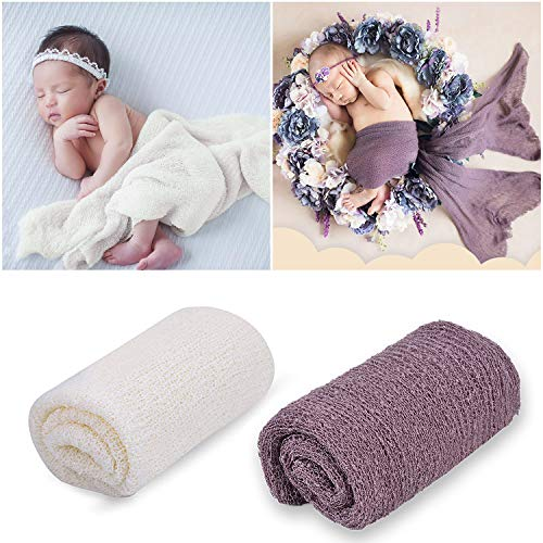 Newborn Photography Props,Aniwon Baby Photo Props Long Ripple Wraps Blanket Wraps for Baby Boys Girls (White & Purple) -