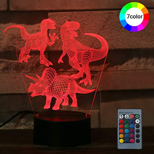 3D Illusion Night Light-LED Table Desk Lamps, Dinosaur