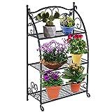 DOEWORKS 3 Tier Metal Plant Stand Storage Rack Shelf Pot Holder for Indoor Outdoor Use, Black