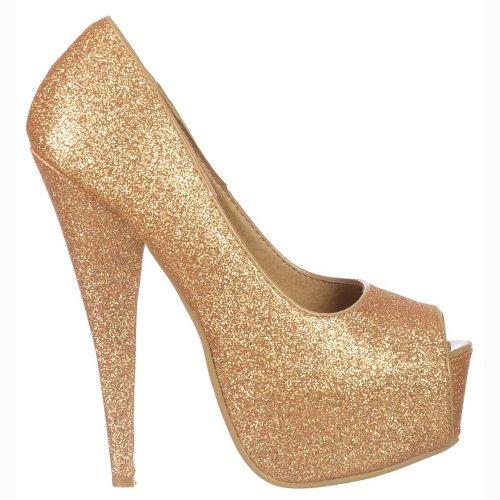 Delle Signore Promenade Dell'alto Gold Peep Frizzante Onlineshoe Glitter Tallone Toe Del Stiletto Donne Piattaforma Shoes Della Oro Partito Scomparsa Di dxWqnq1wEB