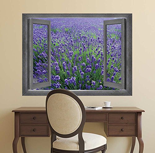 Open Window Creative Wall Decor Gorgeous View onto a Lavendar Field Wall Mural