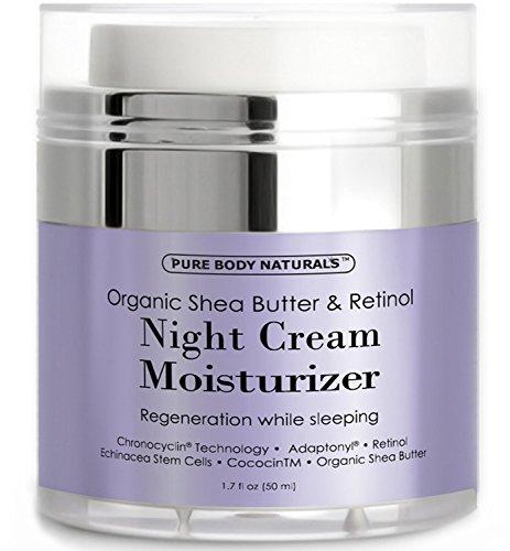 Crème hydratante pour le visage - crème de nuit avec beurre de karité bio 1,7 oz par Pure Body Naturals