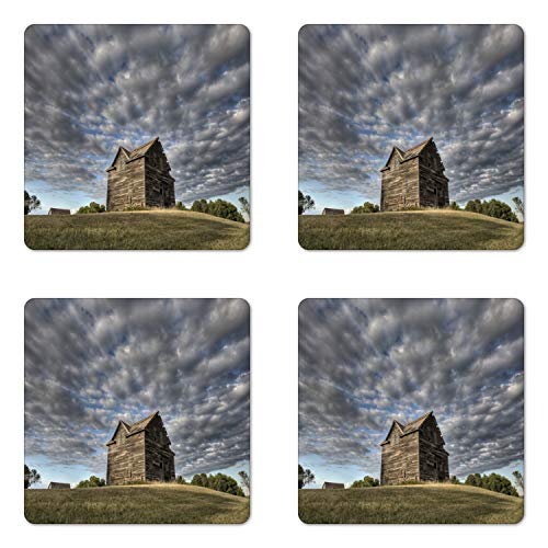 (Lunarable Farmhouse Coaster Set of Four, Abandoned Land Saskatchewan Canada at Sunset and Prairie View Dark Cloudy Sky, Square Hardboard Gloss Coasters for Drinks, Multicolor)