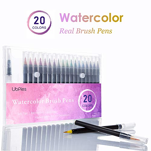 Real Brush Pens,Ubples 20 Colors Watercolor Marker with Flexible Nylon Brush Tips for Coloring, Manga, Calligraphy and -