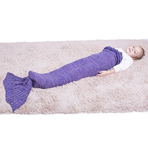 Mermaid Tail Blanket – Mermaid Blanket for Girls,All Seasons Soft and Warm Sleeping Mermaid Blanket for Kids Best Choice for Girls Gift Christmas Gift (Kids Purple)
