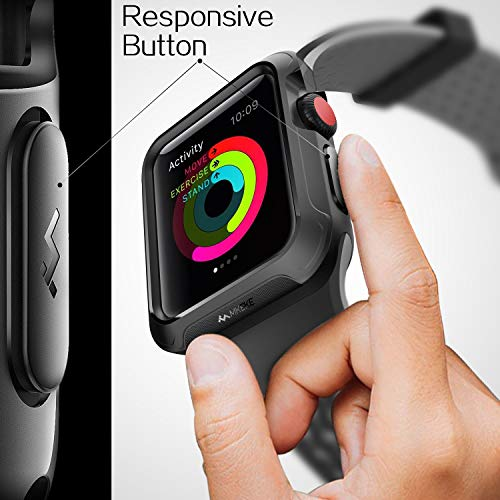 V85 Compatible Apple Watch Case 42mm, Shock-proof and Shatter-resistant Protector Bumper iwatch Case Compatible Apple Watch Series 3, Series 2, Series 1, Nike+,Sport, Edition Black by V85 (Image #5)