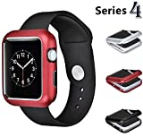 Josi Minea iWatch 4 [40mm] Aluminum Full Body [Front & Back] Magnetic Protective Cover Case - Shockproof & Anti-Scratch Shell Bumper Shield Guard Compatible with Apple Watch Series 4 [ 40mm - Red ]