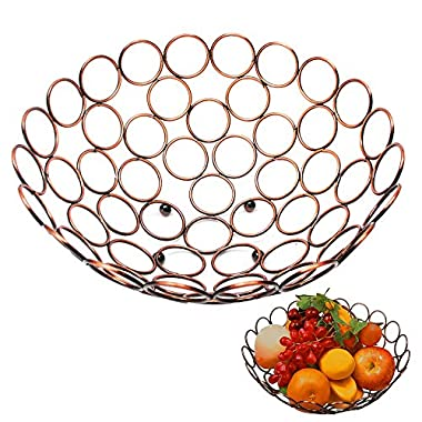 Fruit Bowl Classical Fruit Basket Antique Circle Around Modern Style Chrome Steel Holder Large Bronze