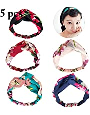 Fascigirl 5PCS Womens Headband Elastic Head Wrap Fashionable Decorative Floral Hair Accessories