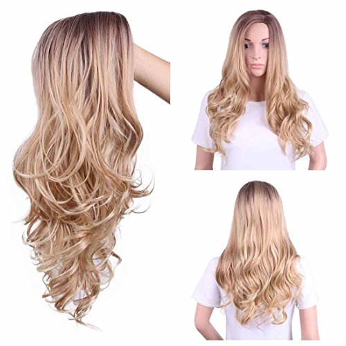 Price comparison product image Iusun Gold Hair Lace Front Wig Long Synthetic Wigs For Women Heat Friendly (Gold)